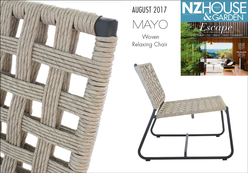 Mayo woven relaxing chair featured in NZ House & Garden