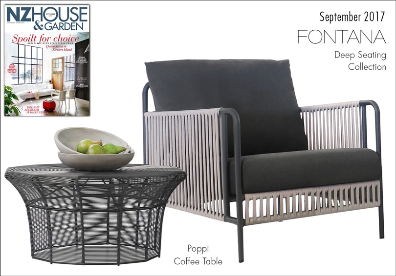 Poppi coffee table and Fontana deep seating collection featured in NZ House & Garden