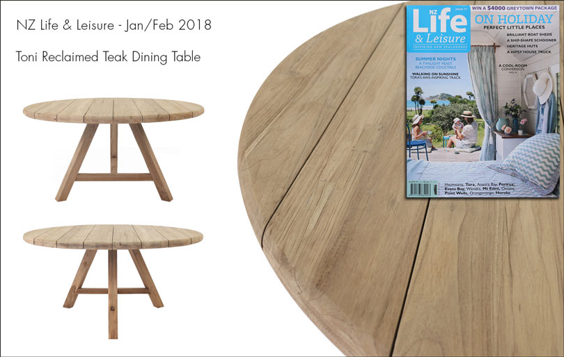 Toni reclaimed teak dining table featured in Life & Leisure